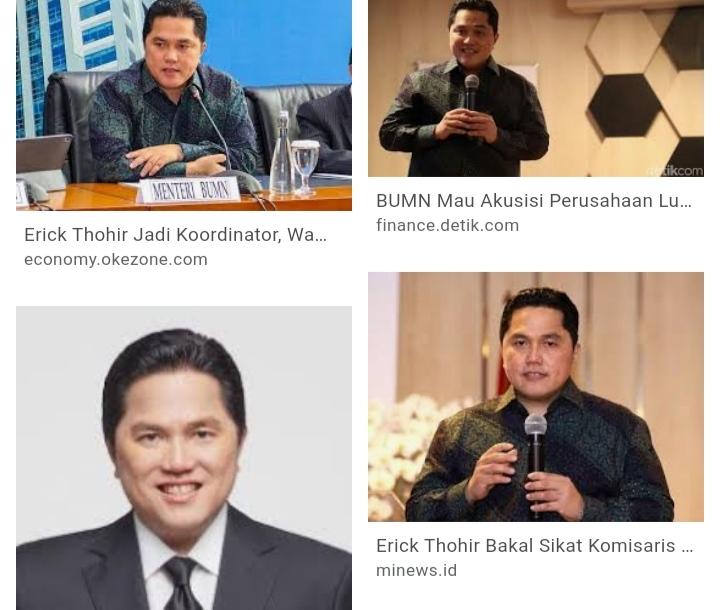 Menteri BUMN Erik Thohir
