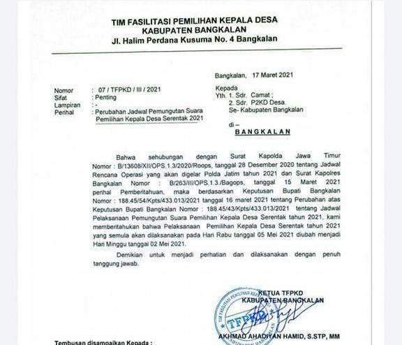 Pelaksanaan Pilkades Serentak 2021 di Bangkalan Maju